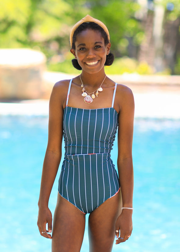 Marie - Palms & Stripes Reversible Tankini - $92