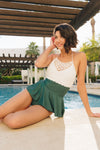 Jane - Crochet Peplum Tankini - Hunter Green - $88