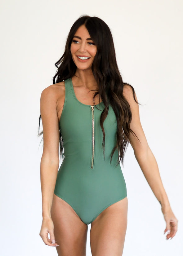 Sage Jenna - Zipper One-Piece Swimsuit - $74