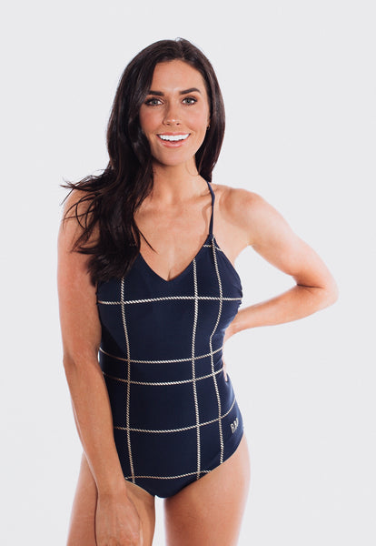 Zoe - Navy and Gold One-Piece Swimsuit - $84