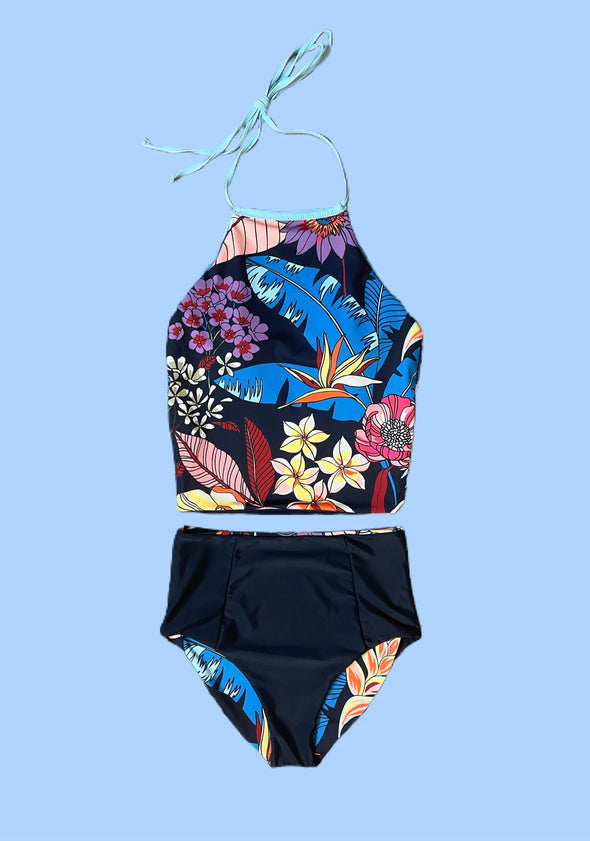Tween Wendy - Tropical & Retro Reversible Tankini- $56