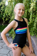 TWEEN Retro Sydney Sporty Tankini - Black - $48