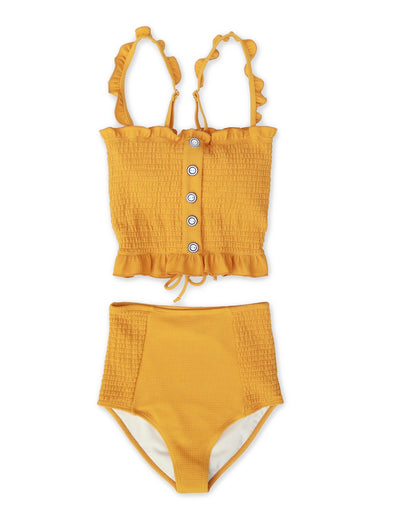 TWEEN Alayna - Textured Smocked Tankini - $56