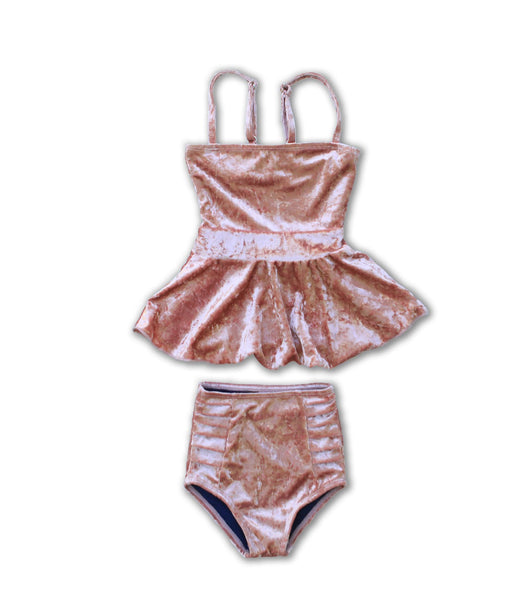 Little Girls Julia Velvet Peplum Tankini - $28