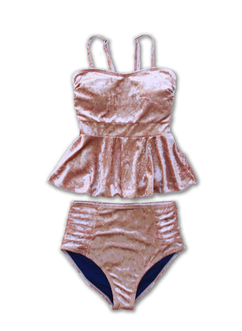 TWEEN Julia Peplum Crushed Velvet Tankini - $48