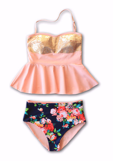 Holly Sequin Floral Peplum Tankini - $44