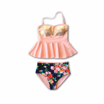 Little Girls Holly Sequin Peplum Tankini - $34