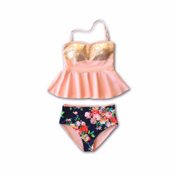 TWEEN - Holly Sequin Floral Peplum Tankini - $44