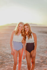 Jane Crochet One-Piece - Navy - $86