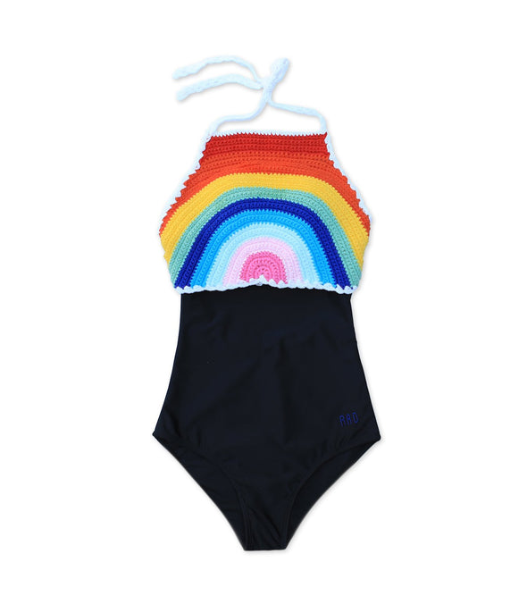 Tween Sunny - Retro Rainbow Crochet One-Piece - $54