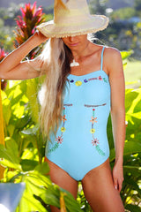 Anna - Floral Embroidered One-Piece - $76