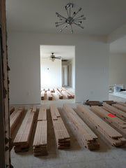 drywall and wood flooring
