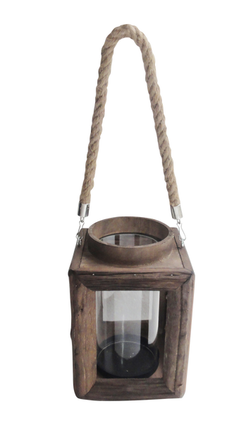 Large Wood and Glass Babuyn Lantern With Handle