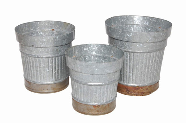 Set Of Three Ribbed/Corrugated Metal Buckets