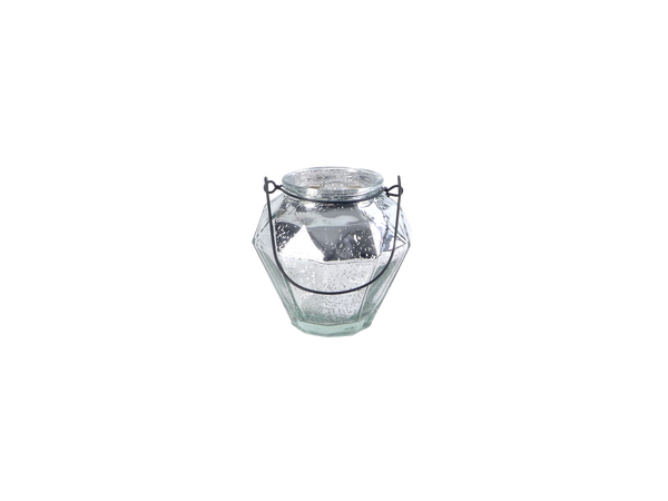 Silver Tone Votive Holder with Handle
