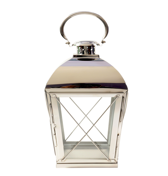 Small Stainless Steel Slope Carriage Lantern Polished Nickel