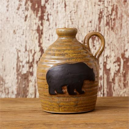 ceramic honey pot with bear decor and handle