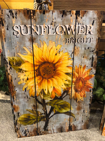 Wooden Painted Sunflower Wall Sign