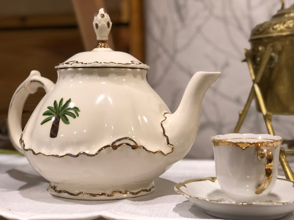 White Porcelain Tea Pot with Pineapple Leaf Lid, Painted Palm Tree and Gold Color Trim
