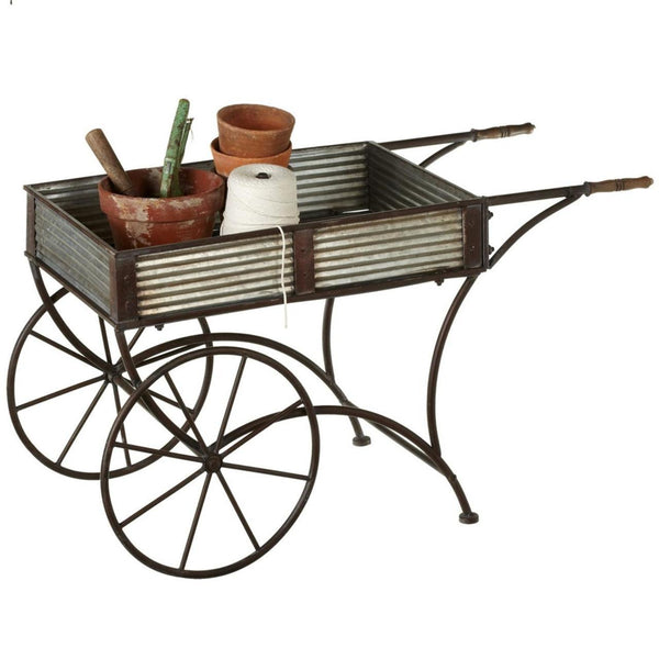 Outdoor Metal Rolling Flower Cart or Wheelbarrow