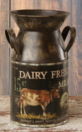 Metal Painted Dairy Fresh Milk Can Style Decor