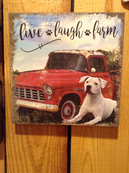"""Live, Laugh, Farm"" Canvas Print Wall Decor."