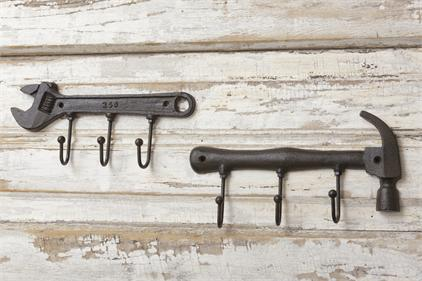 Cast Iron Wrench or Hammer Wall Hanger Hook