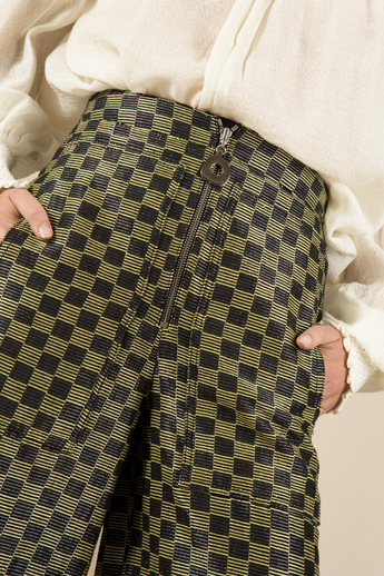 Lurex Check Cropped Wide Leg Pant