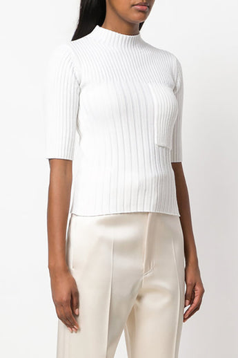 Ribbed Knit Wool Top