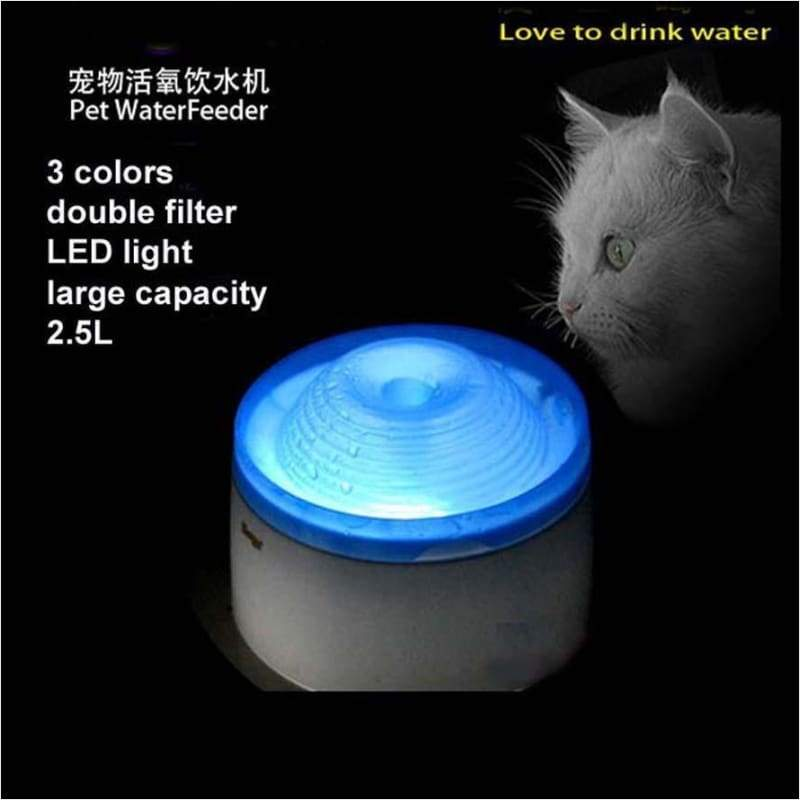 Automatic Pet Water Fountain With LED Light (2.5L) - Water Cat's Fountain LED Light - Free Shipping