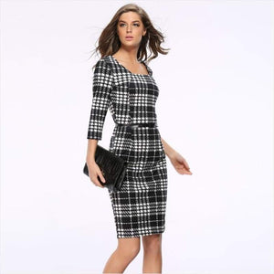 Black And White Plaid Trendy Autumn Dress - Dress - Free Shipping