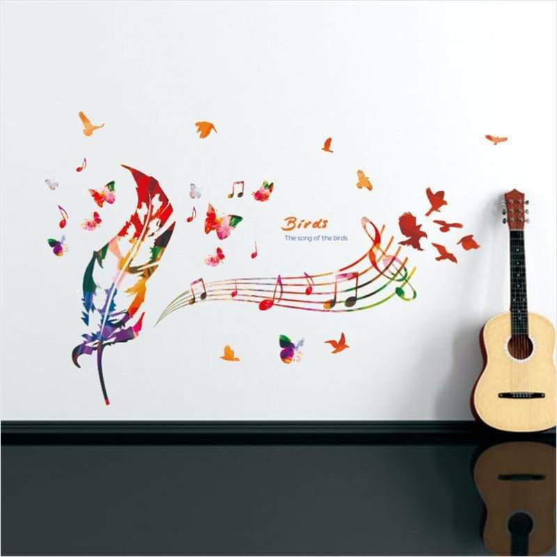 Colorful Music Feather Theme Wall Sticker - Wall Sticker - Free Shipping