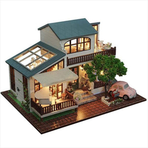 DIY Miniature Wooden Doll House With Tree - Dollhouse - Free Shipping