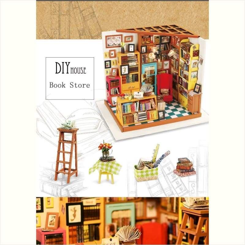 DIY Miniature Wooden Library - DIY - Free Shipping