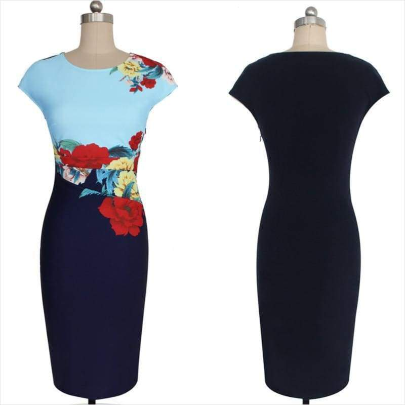 Elegant Vintage Floral Dress - Free Shipping