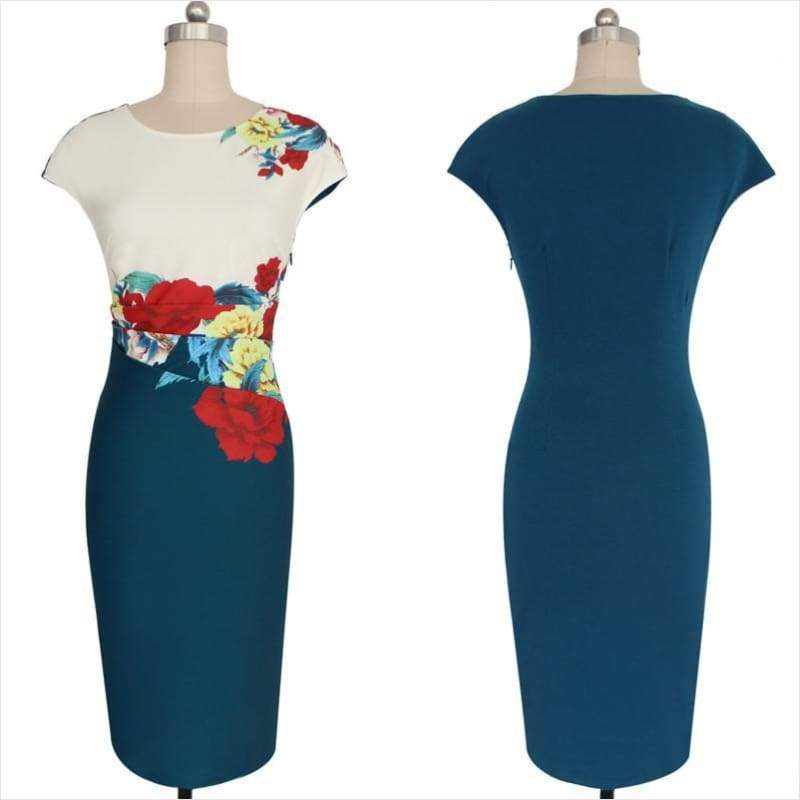 Elegant Vintage Floral Dress - - Free Shipping