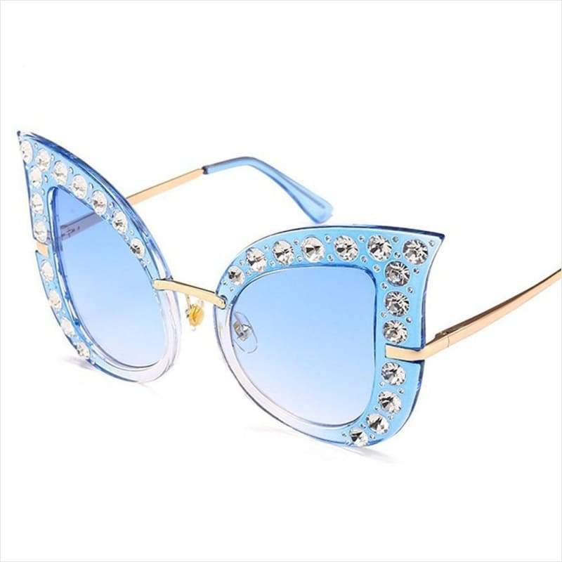 HOT Summer Cat Eye Diamonds Bling Sunglasses - Sunglasses - Free Shipping