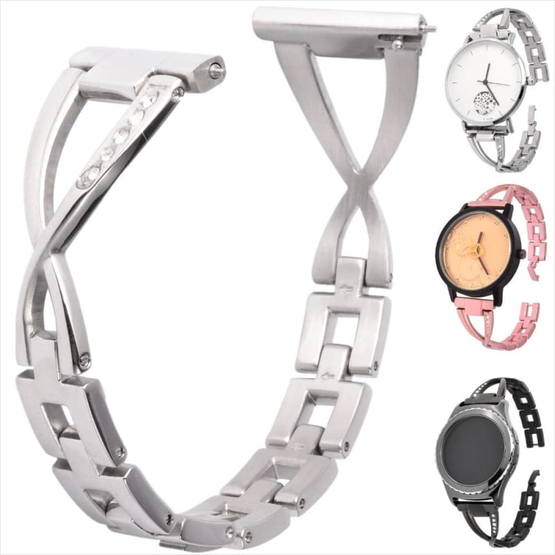 Luxury Diamond Stainless Steel Smartwatch Band for Android Smart Watch Series - Watch Band - Free Shipping