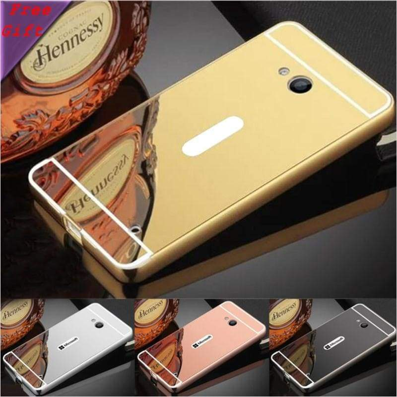 Luxury Plated Armor Aluminum Metal Frame + Mirror Acrylic Back Cover - Phone Case - Free Shipping