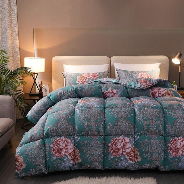 Floral Blossom Goose Down Reversible Soft Duvet Comforter - Beddings - Free Shipping