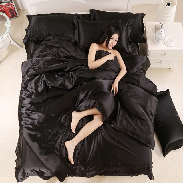 Cooling Summer Silky Satin Comforter Cover Bedding Set