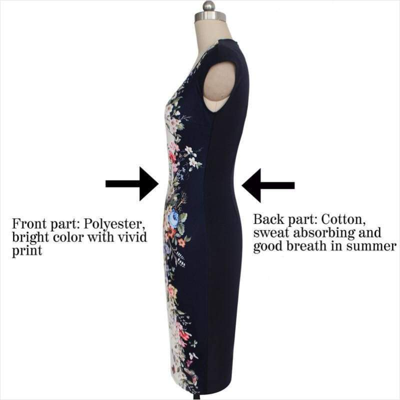 Summer Elegant Floral Butterfly Print Dress - Floral Dress - Free Shipping