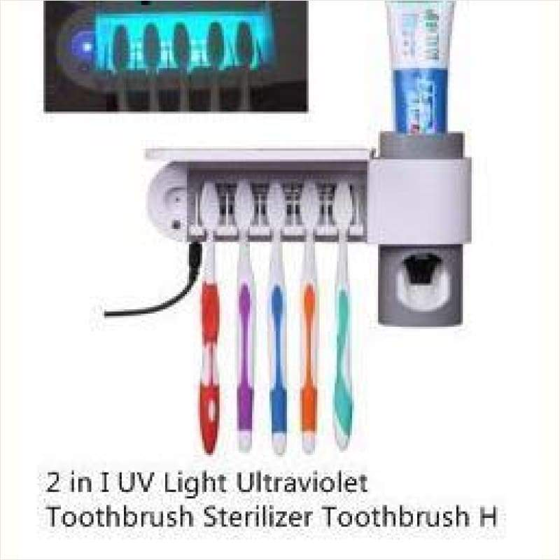 UV Light Ultraviolet Toothbrush Sterilizer and Holder and Automatic Toothpaste Dispenser - - Free Shipping