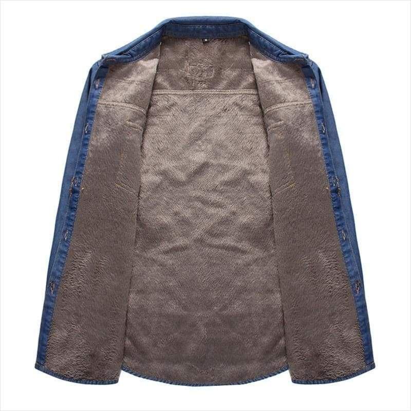 Winter Fleece Jeans Shirt for Men - men shirt - Free Shipping