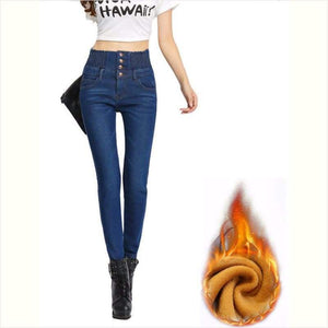 Winter Women High Waist Jeans Pants - Winter Women Jeans Pants - Free Shipping