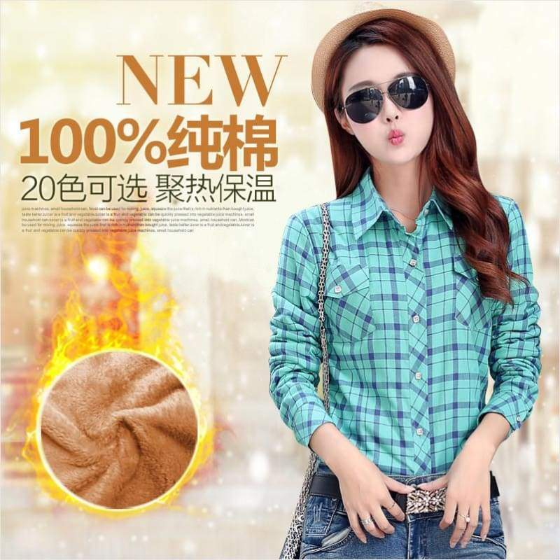 Winter Women Shirts with Plush Lining - Winter Women Shirt - Free Shipping