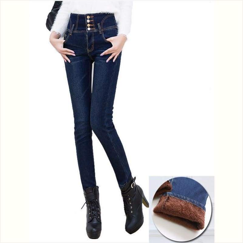 Women Winter Slim Pencil High Waist Jeans - Maximbazar