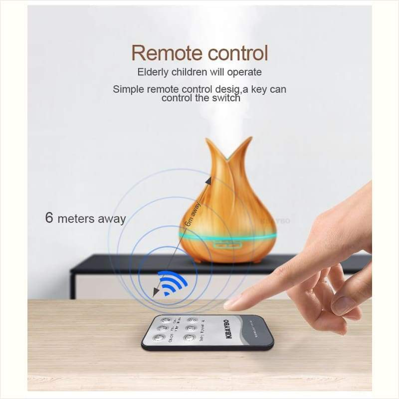 Wood Ultrasonic Air Humidifier With Ambient Lights - Maximbazar