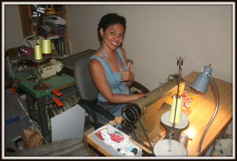 Maui Nui Wear Employee Sewing A Made On Maui Eco-Friendly Tote Bag