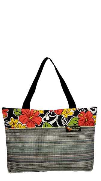 Maui Nui Wear Eco-Friendly Large Mesh Tote Bag Floral `Ele`ele
